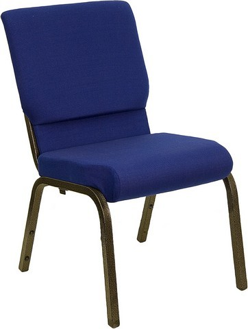 "Flash Furniture XU-CH-60096-NVY-GG Hercules Series 18.5"" Navy Blue Stacking Church Chair and Gold Vein Frame"