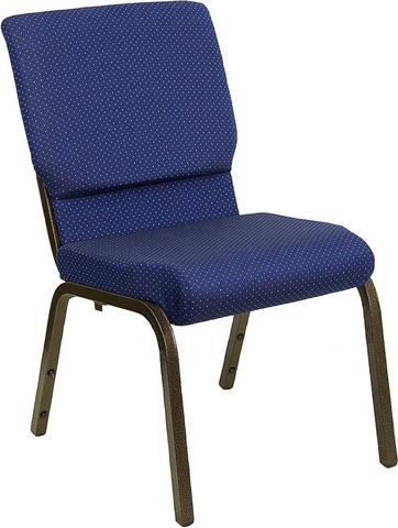 "Flash Furniture XU-CH-60096-NVY-DOT-GG Hercules Series 18.5"" Navy Patterned Stacking Church Chair and Gold Vein Frame"