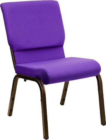 "Flash Furniture XU-CH-60096-PU-GG Hercules Series 18.5"" Purple Fabric Stacking Church Chair/Gold Vein Frame Finish"