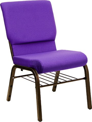 "Flash Furniture XU-CH-60096-PU-BAS-GG Hercules Series 18.5"" Purple Church Chair with Book Basket and Gold Vein Frame"