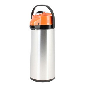 Glass Lined Stainless Steel Airpot with Lever Pump, Decaf 2.2 Liter
