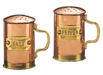 "Old Dutch 930 Decor Copper Salt & Pepper Shaker Set 2 3/4""H ."