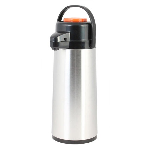 Glass Lined Stainless Steel Airpot with Push Button, Decaf 2.5 Liter