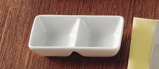 "CAC China CN-2T6 Rectangular 2-Compartment Tasting Tray 5 1/2"" x 2 3/4"" x 1 3/8"""