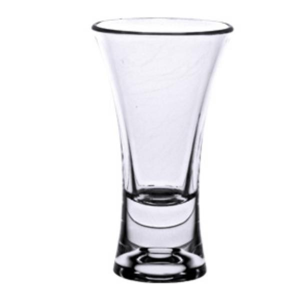 2 Oz Shot Glass, Flair Design, Heavy Base Polycarbonate, Clear