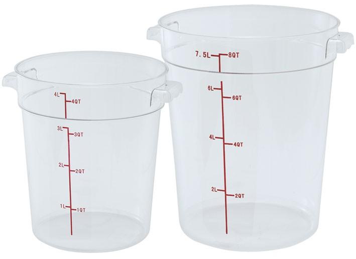 Winco PTRC-2 Translucent Round 2 Qt. Storage Container