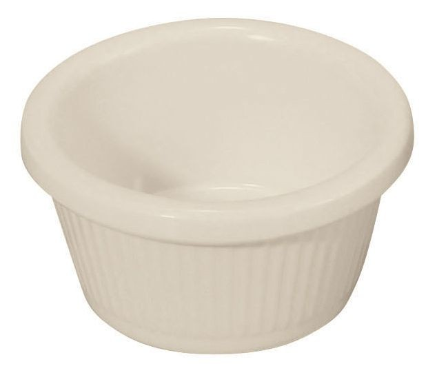 Winco RFM-2B 2 oz. Fluted Bone Melamine Ramekin