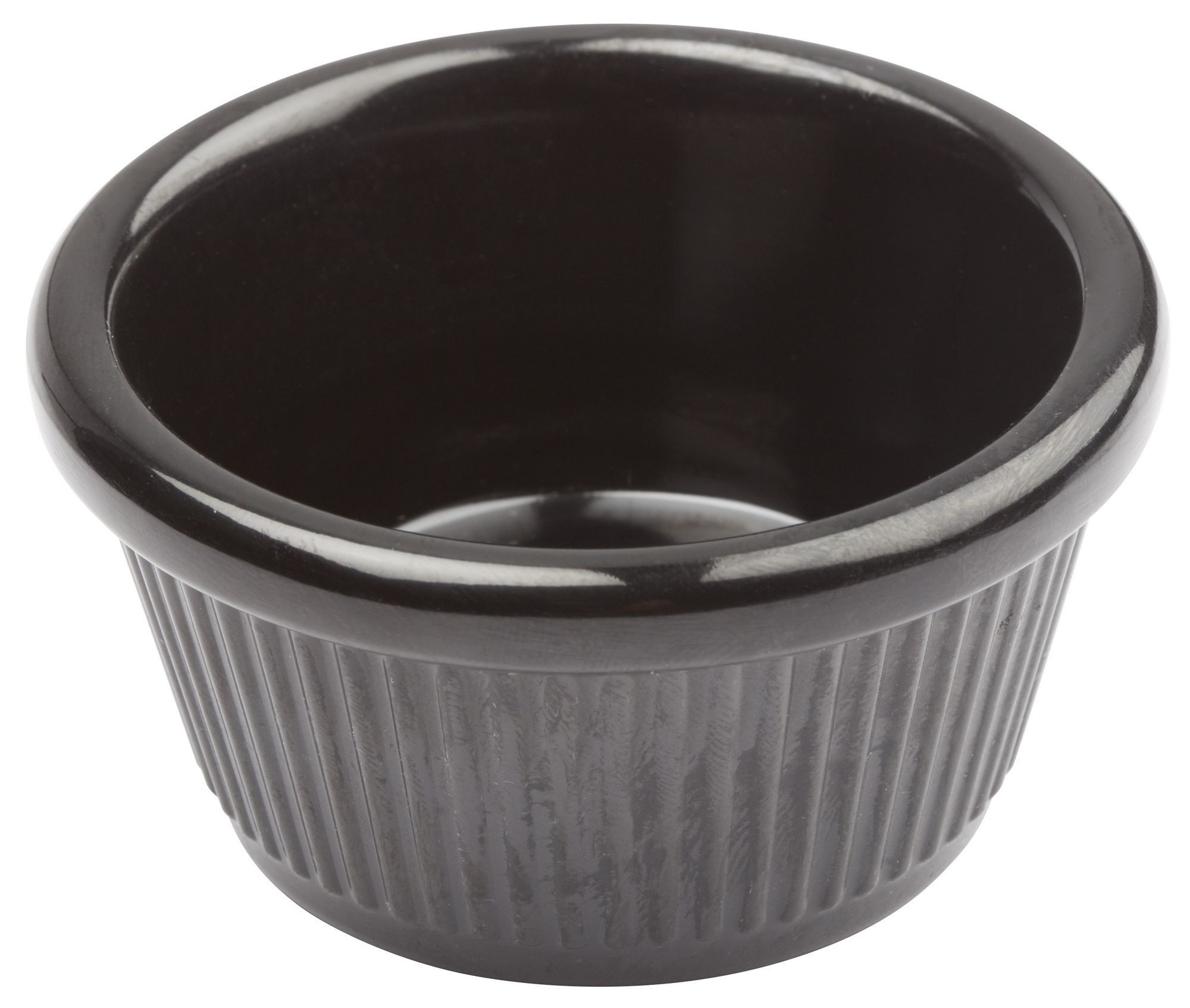 Winco RFM-2K 2 oz. Fluted Black Melamine Ramekin