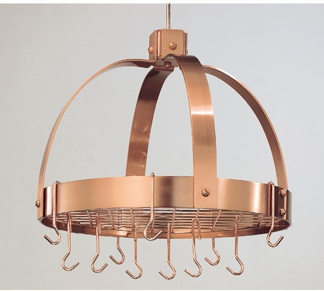 """Old Dutch International 102CP Dome Satin Copper Pot Rack with Grid, 16 Hooks 18"""" x 21"""""""