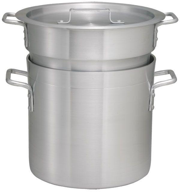 Winco ALDB-20 Aluminum 20 Qt. Double Boiler Set
