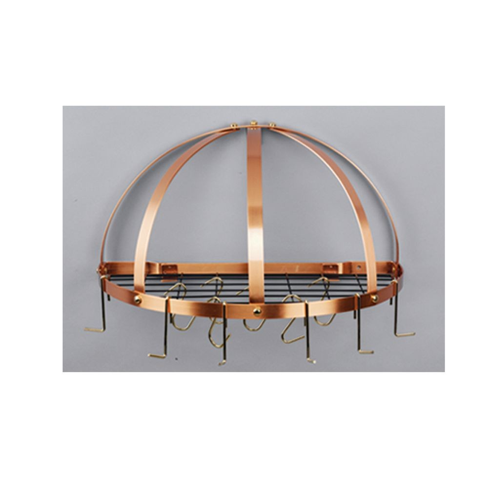 "Old Dutch International 055CP Satin Copper Half Round Pot Rack with Grid, 12 Hooks, 22"" x 11"""