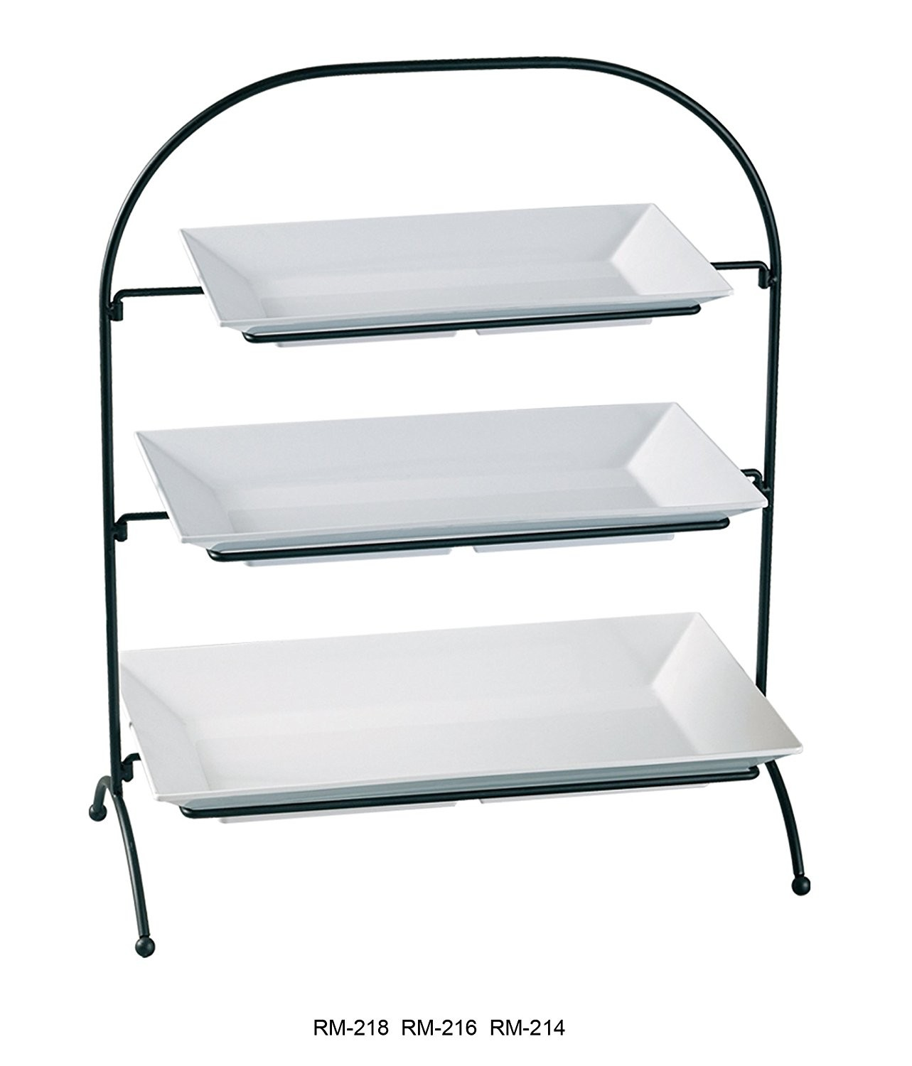 """Yanco ST-103BK Rome 3 Tier Black Display Stand 22 1/2"""" x 19"""" x 9 1/2""""for RM-212/214/218"""