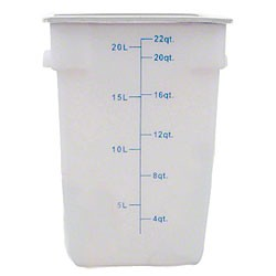 Thunder Group PLSFT022PP White Plastic Square Food Storage Container 22 Qt.