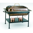Old Dutch International 842 Antique Copper over Stainless Steel Rectangular Chafing Dish, 8 Qt.