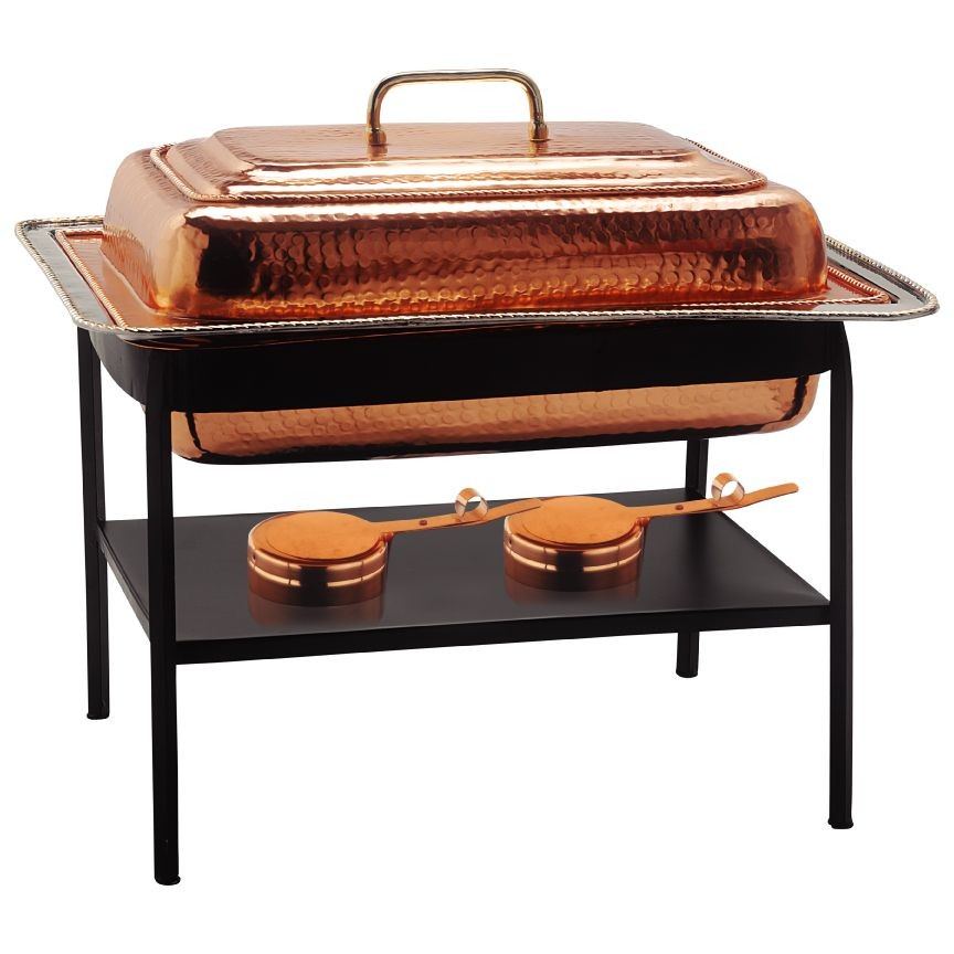 Old Dutch International 893 Decor Copper over Stainless Steel Rectangular Chafing Dish, 8 Qt.