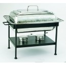 Old Dutch International 683 Polished Nickel Over Stainless Steel Rectangular Chafing Dish, 8 Qt.