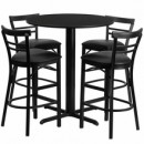 "Flash Furniture HDBF1033-GG 24"" Round Black Laminate Table Set with 4 Two-Slat Ladder Back Metal Bar Stools Black Vinyl Seat"