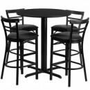 Flash Furniture HDBF1033-GG 24'' Round Black Laminate Table Set with 4 Ladder Back Metal Bar Stools Black Vinyl Seat
