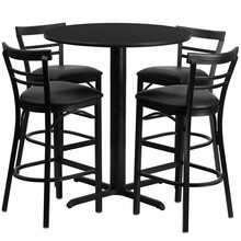 24'' Round Black Laminate Table Set with 4 Ladder Back Metal Bar Stools - Black Vinyl Seat