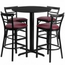"Flash Furniture HDBF1037-GG 24"" Round Black Table Set with 4 Two-Slat Ladder Back Metal Bar Stools Burgundy Vinyl Seat"