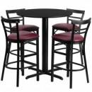 Flash Furniture HDBF1037-GG 24'' Round Black Table Set with 4 Ladder Back Metal Bar Stools Burgundy Vinyl Seat-