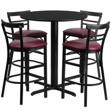 24'' Round Black Table Set with X Base  with 4 Ladder Back Metal Bar Stools - Burgundy Vinyl Seat-
