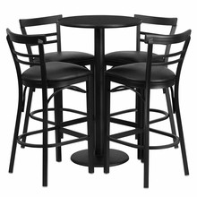 Flash Furniture RSRB1033-GG 24'' Round Black Laminate Table Set with 4 Ladder Back Bar Stools, Black Vinyl Seat