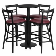 24'' Round Black Laminate Table Set with Round Base with 4 Ladder Back Metal Bar Stools - Burgundy Vinyl Seat