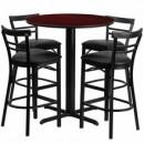 Flash Furniture HDBF1034-GG 24'' Round Mahogany Laminate Table Set with 4 Ladder Back Metal Bar Stools Black Vinyl Seat