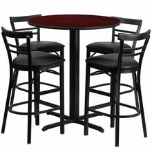24'' Round Mahogany Laminate Table Set with X Base with 4 Ladder Back Metal Bar Stools - Black Vinyl Seat