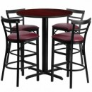 24'' Round Mahogany Laminate Table Set with X Base with 4 Ladder Back Metal Bar Stools - Burgundy Vinyl Seat