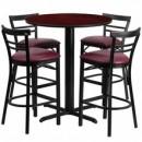 Flash Furniture HDBF1038-GG 24'' Round Mahogany Laminate Table Set with 4 Ladder Back Metal Bar Stools Burgundy Vinyl Seat