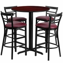 Flash Furniture HDBF1038-GG 24'' Round Mahogany Laminate Table Set with 4 Ladder Back Metal Bar Stools Burgundy Vinyl Seat