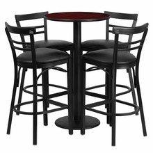 24'' Round Mahogany Laminate Table Set with Round Base with 4 Ladder Back Metal Bar Stools - Black Vinyl Seat