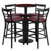 24'' Round Mahogany Laminate Table Set with Round Base with 4 Ladder Back Metal Bar Stools - Burgundy Vinyl Seat