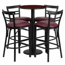 Flash Furniture RSRB1038-GG 24'' Round Mahogany Laminate Table Set with Round Base with 4 Ladder Back Metal Bar Stools, Burgundy Vinyl Seat