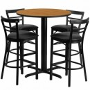 Flash Furniture HDBF1035-GG 24'' Round Natural Laminate Table Set with 4 Ladder Back Metal Bar Stools Black Vinyl Seat