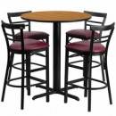 "Flash Furniture HDBF1039-GG 24"" Round Natural Laminate Table Set with 4 Two-Slat Ladder Back Metal Bar Stools Burgundy Vinyl Seat"