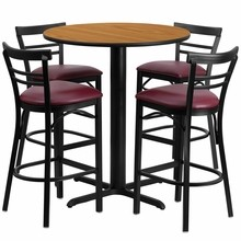 24'' Round Natural Laminate Table Set with with X Base 4 Ladder Back Metal Bar Stools - Burgundy Vinyl Seat