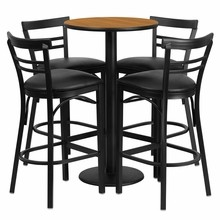 24'' Round Natural Laminate Table Set with Round Base with 4 Ladder Back Metal Bar Stools - Black Vinyl Seat