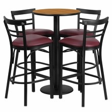 24'' Round Natural Laminate Table with Round Base Set with 4 Ladder Back Metal Bar Stools - Burgundy Vinyl Seat