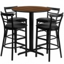 Flash Furniture HDBF1036-GG 24'' Round Walnut Laminate Table Set with 4 Ladder Back Metal Bar Stools Black Vinyl Seat
