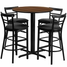 24'' Round Walnut Laminate Table Set with X Base with 4 Ladder Back Metal Bar Stools - Black Vinyl Seat