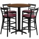 "Flash Furniture HDBF1040-GG 24"" Round Walnut Laminate Table Set with 4 Two-Slat Ladder Back Metal Bar Stools Burgundy Vinyl Seat"