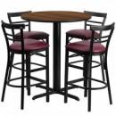 Flash Furniture HDBF1040-GG 24'' Round Walnut Laminate Table Set with 4 Ladder Back Metal Bar Stools Burgundy Vinyl Seat