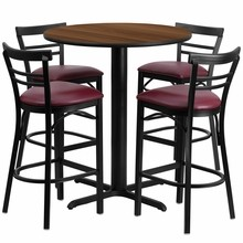 Flash Furniture HDBF1040-GG 24'' Round Walnut Laminate Table Set with 4 Ladder Back Metal Bar Stools Burgundy Vinyl Seat