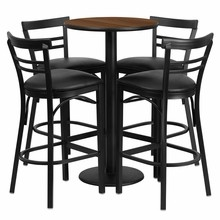 24'' Round Walnut Laminate Table Set with Round Base with 4 Ladder Back Metal Bar Stools - Black Vinyl Seat