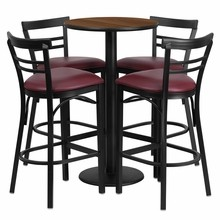 24'' Round Walnut Laminate Table Set with Round Base with 4 Ladder Back Metal Bar Stools - Burgundy Vinyl Seat