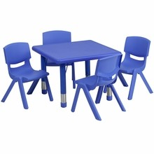 "Flash Furniture YU-YCX-0023-2-SQR-TBL-BLUE-E-GG 24"" Square Adjustable Blue Plastic Activity Table Set with 4 School Stack Chairs"