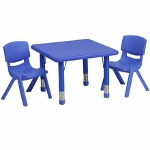 "Flash Furniture YU-YCX-0023-2-SQR-TBL-BLUE-R-GG 24"" Square Adjustable Blue Plastic Activity Table Set with 2 School Stack Chairs"